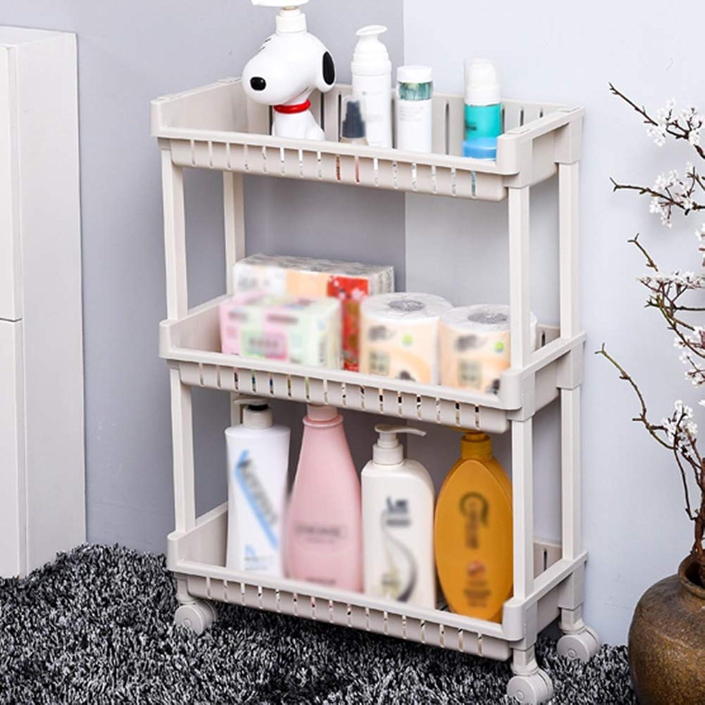 ZHANWEI Bathroom Shelf Shower Organiser Floor-Standing Multifunction Multi-Layer Casters Plastic 3 4 Tiers White (color   3 Tiers, Size   B)