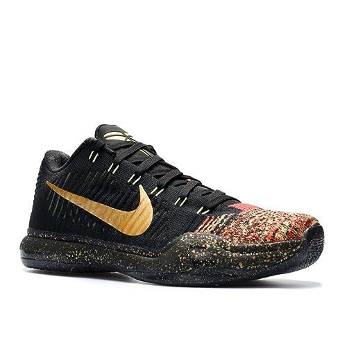 promo code 6ba70 99ea0 Nike Kobe X Elite Low Xmas 802560-076 Black Crimson Gold Men s Basketball