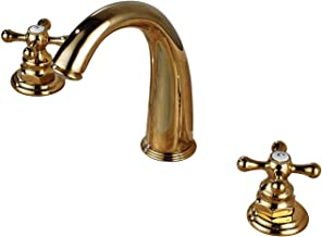 Rozin Widespread 2 Knobs Basin Faucet Deck Mounted 3 Holes Sink Mixer Tap Gold Polished