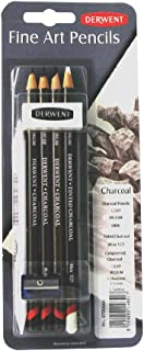 Derwent Charcoal Drawing Sampler Pack with Eraser and Sharpener, Professional Quality, 700664
