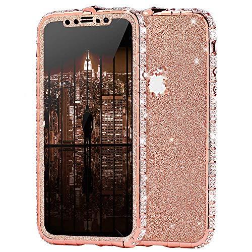 Surakey Kompatibel mit iPhone XS Hülle Glitzer Glänzend Kristall Bling Handyhülle Glitzer Strass Diamant Metall Bumper Case Vorne Hinten Glitzerfolie Skin Schutzhülle Tasche für iPhone XS,Rose Gold