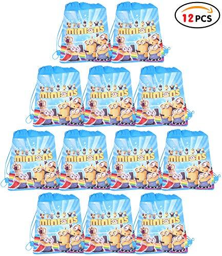 Qemsele Partytüten Mitgebsel Kindergeburtstag Gastgeschenke Tüten Tasche 12 Stück, Kordelzug Rucksack Bag Turnbeutel für Kinder Mädchen Frauen Kindergeburtstag, Geburtstagsfeier, Minions
