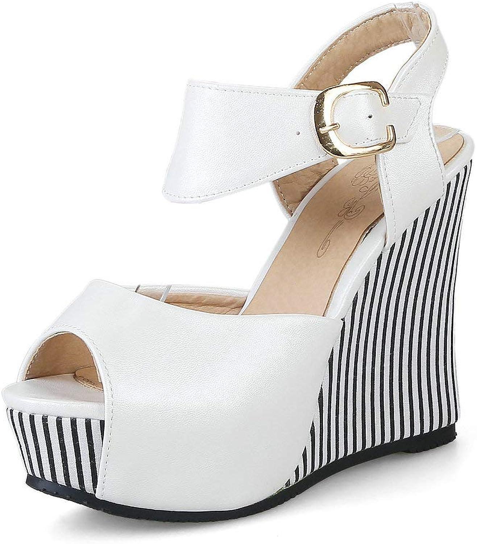 AnMengXinLing Wedge Sandals Women Platform Espadrille High Heel Peep Toe Ankle Strap Comfort D'Orsay Slingback Sandals Summer Leather Pumps shoes