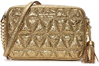 Michael Kors Ginny Quilted Medium Leather Camera Bag Crossbody Pale Gold