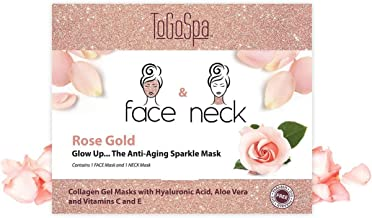 ToGoSpa FACE & NECK | Preimum Clean Collagen Gel Mask with Hyaluronic Acid, Aloe Vera, Vitamins C & E (Rose Gold)