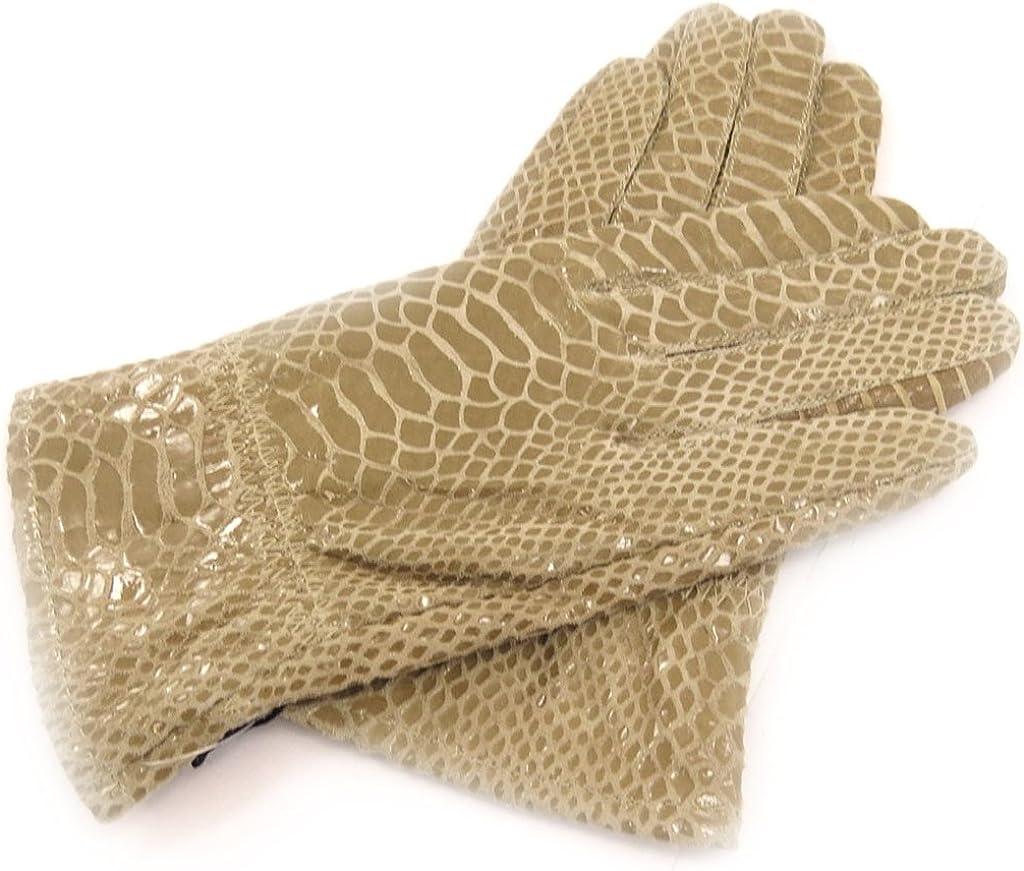 Leather gloves leather 'Scarlett'beige (python pattern).