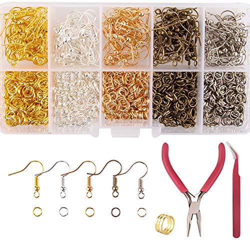 AIEX 1150 Piezas Ganchos para Pendientes Kit de Anillos de Salto Suministros de Fabricación de Joyas Con Alicates, Pinzas para Hacer y Reparar Pendientes DIY, 5 Colores