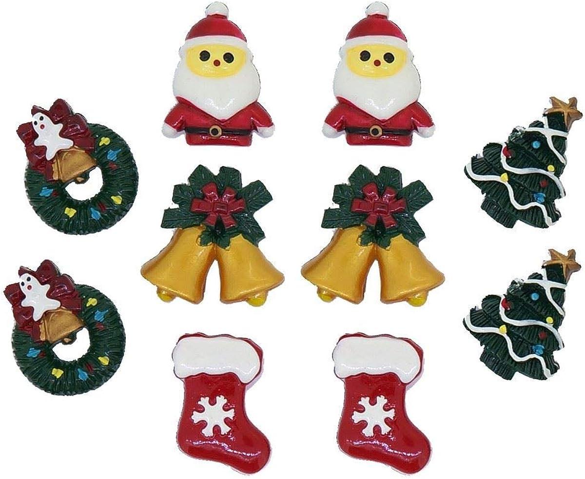 Christmas Santa Claus Tree Stocking Bells Wreath Clip on Earrings for Kids Teen Girls Women Gift Pack of5