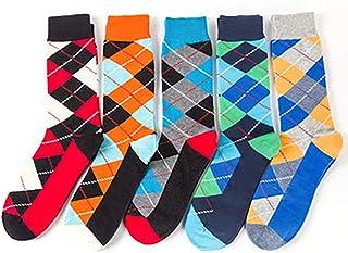 Bocotoer, Pack de 5 calcetines largos para cama de suelo, calcetines de colores divertidos para hombres y mujeres