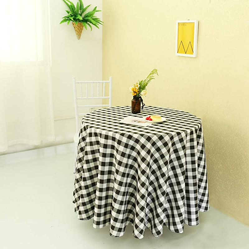 Zdada Black And White Check Table Cover Faric Checker Table Cloth Polyester Tablecloth Grid Linen 180cm Round