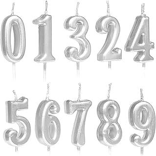 Lot de 10 bougies d'anniversaire numérotées de 0 à 9 à paillettes pour décoration de gâteau d'anniversaire, fête d'anniver...