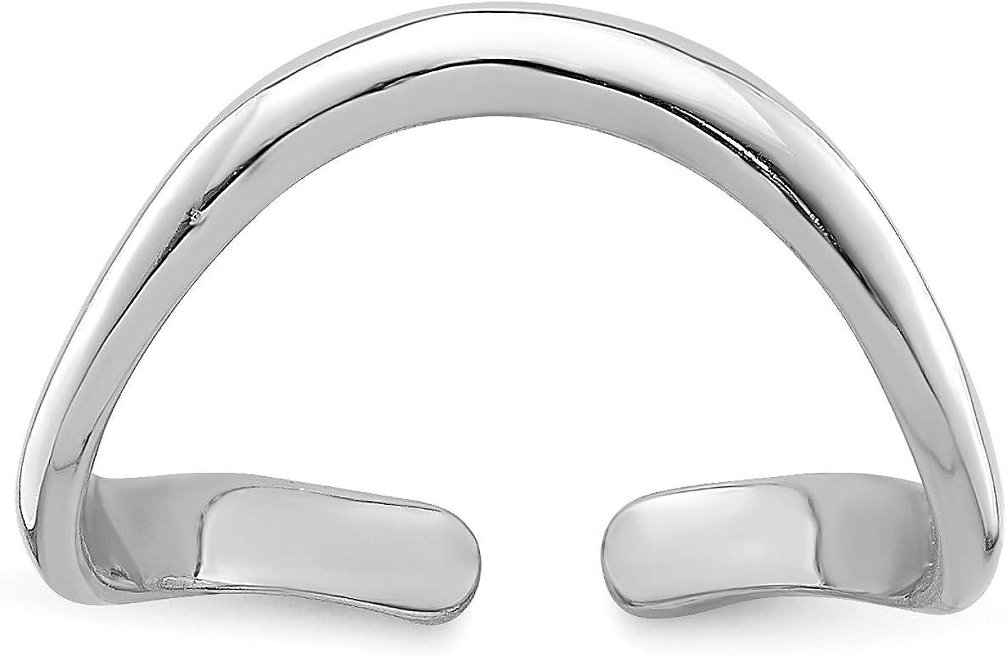 14k White Gold Polished Single Curved Wave Toe Ring