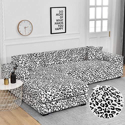 ZJXSNEH Funda de sofá Elastica Cubierta para sofá con Cuerda de fijación Leopardo 145-185cm