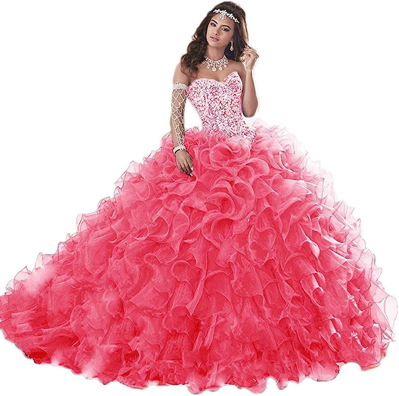 Wanshqin Women's Heavy Beaded Organza Ruffle Quinceanera Dresses Sweetheart Prom Ball Gowns