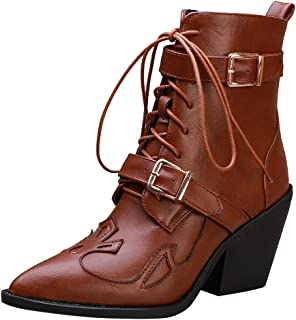 ELEEMEE Women Western Ankle Boots Lace Up Cowboy Boots Zip