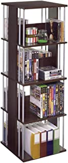 Atlantic Typhoon Media Spinner Unit - Fully Rotates 360 Degrees on a Ball Bearing Base, Holds 216 CDs, 144 DVDs, 4 Fixed Shelves, PN82635716 in Espresso