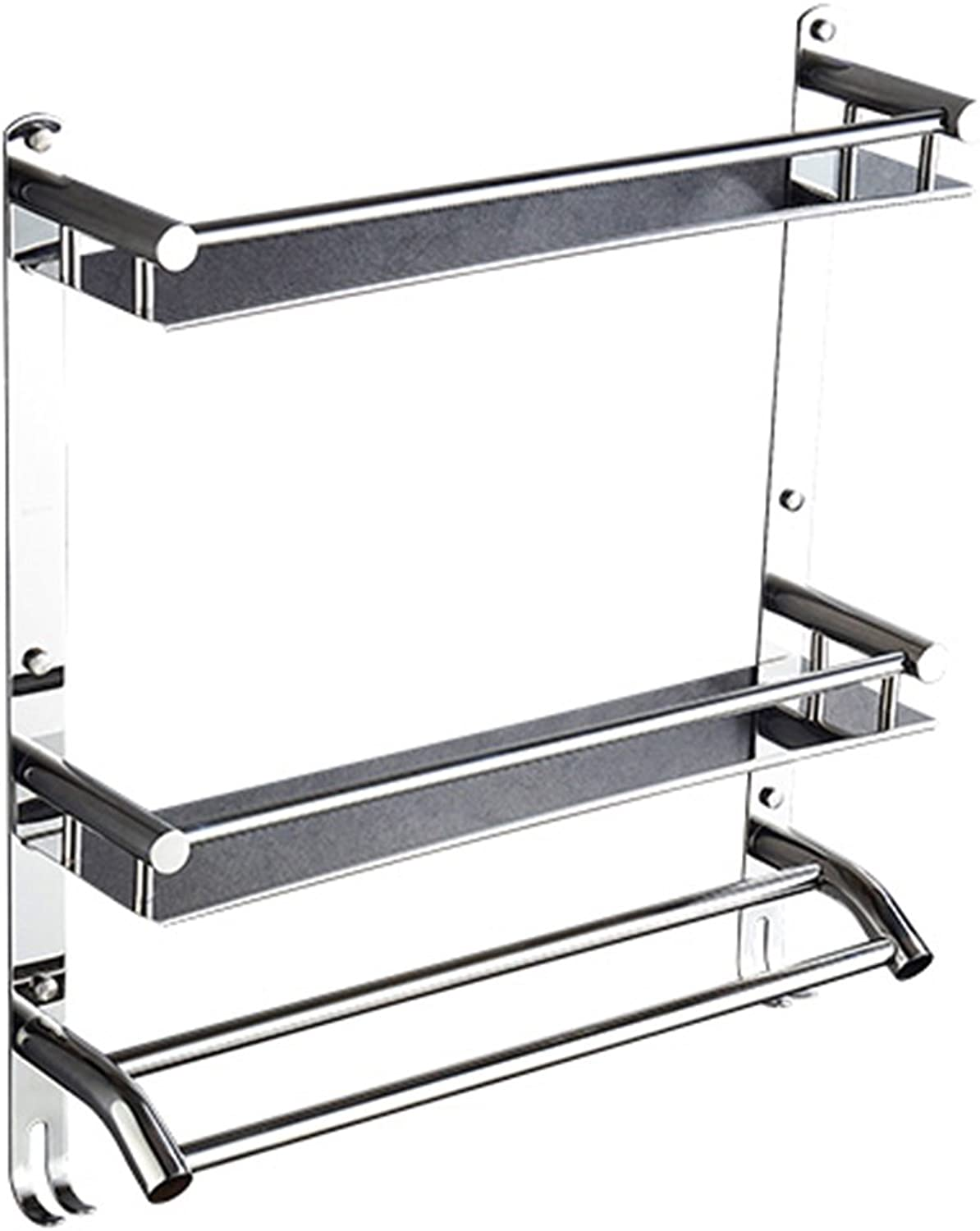 ZHANWEI Bathroom Shelf Shower Organiser Wall-Mounted Stainless Steel Punch Free Glue Hook up Tower Hanger (color   2 Layers, Size   40cm)