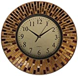 Lulu Decor, 16' Amber Rays Mosaic Wall Clock with 9.5' Glass Dial, Silent Movement for Living Room & Office Space (LP84)