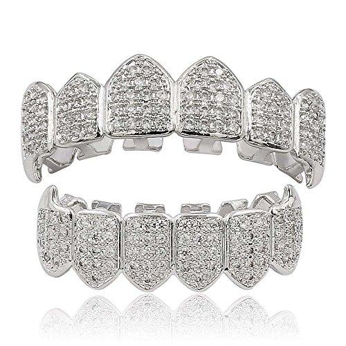 Moca Schmuck Hip Hop Unisex 18 Karat Vergoldet Iced Out CZ Simulierte Diamant Top Bottom Teeth Grill Set für Männer Frauen (silver)