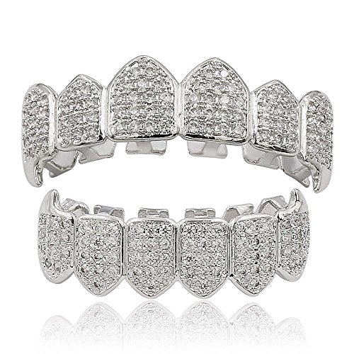Moca Schmuck Hip Hop Unisex 18 Karat Vergoldet Iced Out CZ Simulierte Diamant Top Bottom Teeth Grill Set für Männer Frauen (silver)