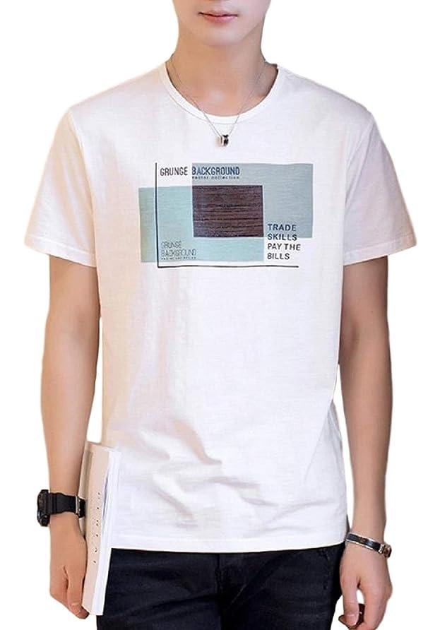 対角線大学院ヘルパー[アルトコロニー] 英字 ロゴ tシャツ プリント 半袖 丸首 スポーツ スリム ストリート系 カジュアル M ~ 2XL メンズ