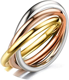 Epinki Ring Stainless Steel Women 3 Circles Round Silver Rose gold Rings Women Promise Ring