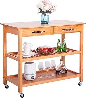 LZ LEISURE ZONE Harper&Bright Designs Kitchen Island Cart with Wheels Drawers & Shelves Storage Shelf (Walnut)