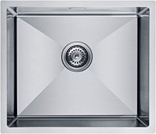 CECIPA Magni X602S I Einbauspüle Einzelbecken 50x43cm Edelstahl, Küchenspüle für 50cm Breite Unterschrank, inkl Siphon & Über- und Ablaufgarnitur I Waschbecken für 3 Installationsmethoden