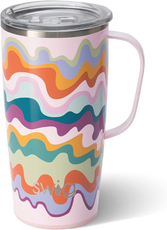 Swig Life 22oz Tall Travel Mug with Handle and Lid, Stainless St
