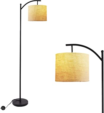Twinkle Star Bedroom Arc Floor Lamp, Living Room Office Standing Reading Light with Hanging Shade, Foot Pedal Push Switch and