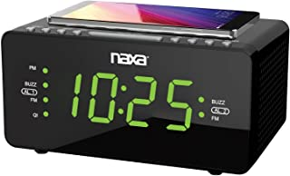 Naxa Electronics NRC-191 Dual Alarm Clock with QI Wireless Charging Function for Smartphones/iPod/iPhone/Tablets, LED Disp...