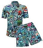AIEOE Camisa Hawaiana Funky de Camisa y pantalón Corto Estampados Negros para Hombres Conjunto de Manga Corta con Botones para Vacaciones de Verano Fiesta en la Playa XL