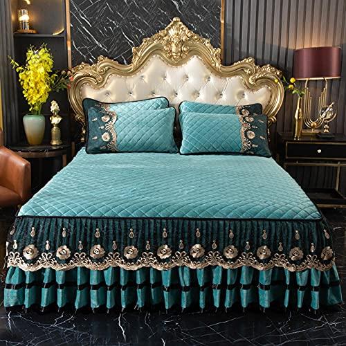 YFGY Falda De Cama Super King Azul Zafiro, Falda de Cama de Terciopelo en Relieve, Colcha de Forro Polar de Coral Encaje para Dormitorio de Mujer con Funda de Almohada 200 * 220 cm