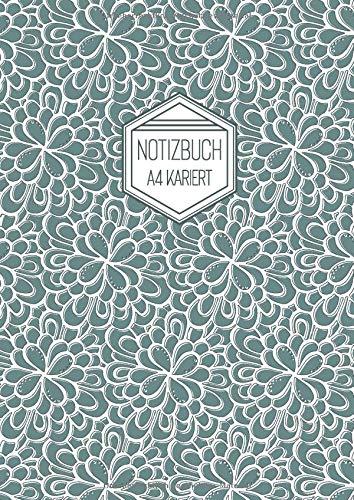 Notizbuch A4 Kariert: Grün Softcover Matt Florales Muster