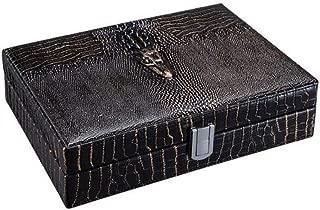 JFYHZ Cigar Box, Portable Cow Leather Cigar Moisturizing Set Cigar Tube, Cigar Humidor and Cigar Smoker, Cigar Set Brown Optional (Color : Black)