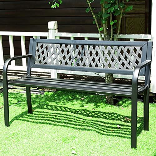 LIUD Panchina da Giardino Nero Panca da Giardino 2 Posti Panca da Esterno Impermeabile con Motivo A Rete E Braccioli Telaio in Acciaio Mobile da Giardino