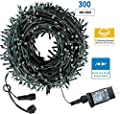 Drunze Christmas String Lights 105Ft 300 LEDs with UL Certified End-to-End Expandable Plug, 8 Modes Waterproof Outdoor Indoor Fairy String Lights for Party,Garden, Wedding, Holiday, (Warm White)