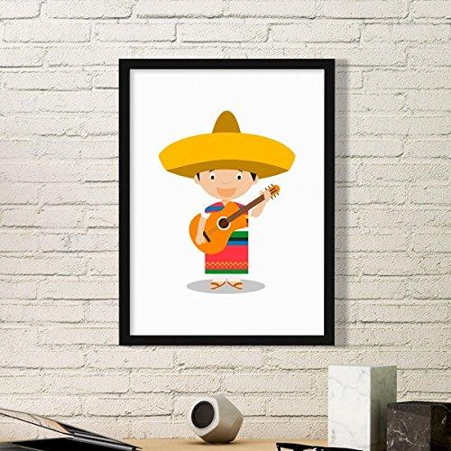 DIYthinker Hoed Gitaar Mexico Cartoon Eenvoudige fotolijst Kunst Prints Schilderijen Thuis Muursticker Gift