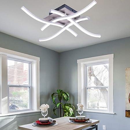 ALLOMN Plafonnier LED, Lampe de Lustre Plafonnier Design Moderne Courbé avec 4 PCS Agité Lumière Pour le Salon Chambre Salle à Manger (28W 4 Lumières Blanc Froid)