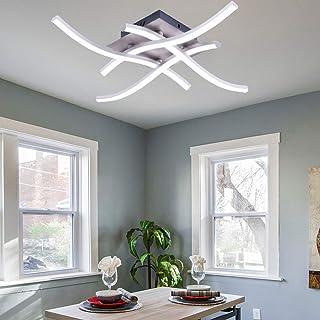ALLOMN Plafonnier LED, Lampe de Lustre Plafonnier Design Moderne Courbé avec 4 PCS Agité Lumière Pour le Salon Chambre Sal...