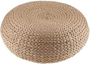 "HUAWELL Japaness Style Straw Futon Knitted Round Seat Cushion Dia. 40cm(15.75"") Pouf"