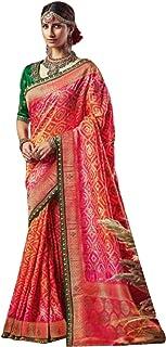 multi Indian Woman Wedding Swarovski Pallu Saree Pure Soft Silk Bandhej Weaving Bridal Bandhani Sari Blouse 6246
