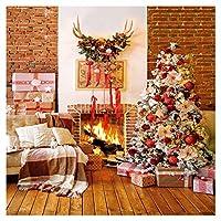WOLADA クリスマス暖炉用背景 赤いレンガの壁 クリスマスツリーの背景 写真撮影 クリスマスパーティー用品 装飾バナー フォトブーススタジオ小道具 10x10フィート 11962
