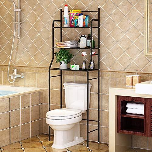 Sarah Mobile portaoggetti per Toilette, 3 ETAGES Etagère portaoggetti in Metallo per Bagno WC Mobile Etagère sopra WC Risparmio Spazio, 55 x 26 x 165 cm Nero