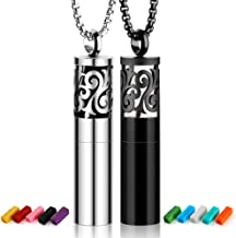 Maromalife Diffuser Necklace 2-Pack Set, Essential Oil Diffuser Pendant Aromatherapy Cylinder Container Locket 316L Stainless Steel Necklaces with 20 Felt Pads Gift Set