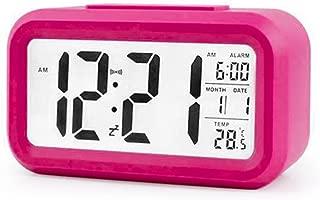 Oranmay LED Display Digital Alarm Clock Backlight Table Clock Time Monitoring Temperature Calendar (Hot Pink)