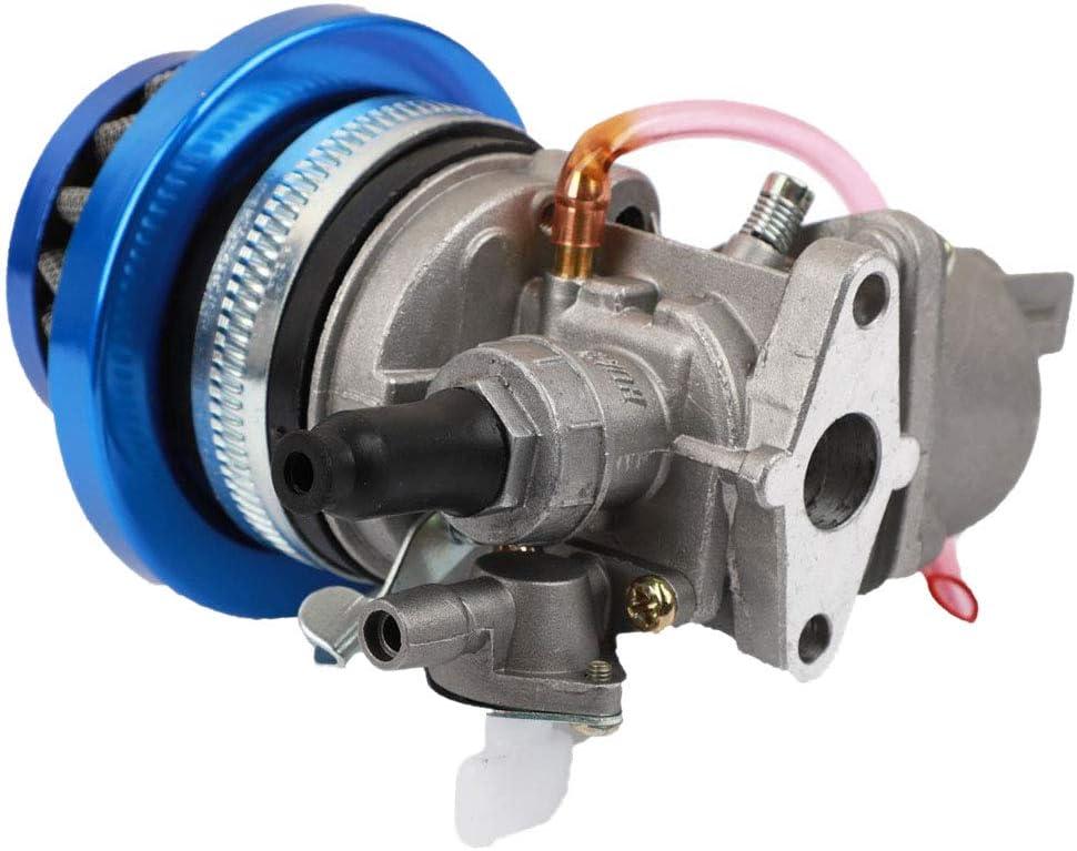Karelu Carburador Carb + filtro de aire azul + bolsa para 2 Hub 47 cc 49 cc Motor piezas Mini Moto Niños ATV Quad Dirt Pocket Bicicleta Minimoto
