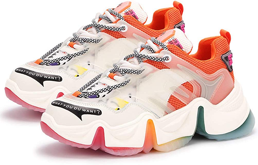 Femmes Printemps Automne Clunky Sneakers Lace-up Platform Mesh Sneakers Casual Sports Chaussures Outdoor Athletic Trainers Chaussures Orange