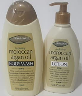 HYDRATING MOROCCAN ARGAN OIL BODY WASH AND LOTION WITH SHEA BUTTER AND COLLOIDAL OATMEAL - 12 FL OZ (2-PACK) by Spa Haus