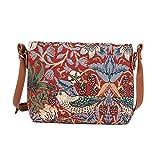 Signare Tapisserie Kleine Handtasche Damen, Umhängetasche Damen, Schultertasche Damen mit William Morris Designs (Erdbeerdieb Rot)